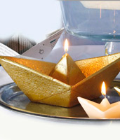 Golden Paper Boat Candle